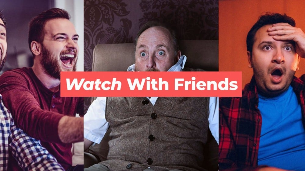 Three groups of people watching Netflix remotely.