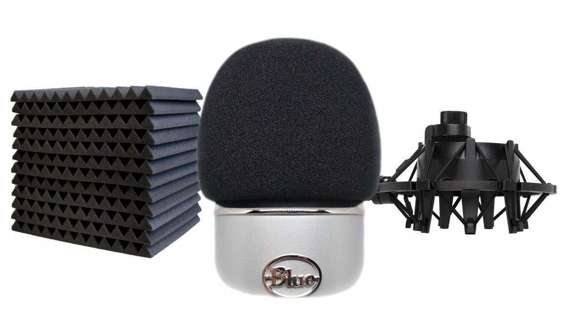 yeti, blue yeti, pop filter, shock mount, foam panels,