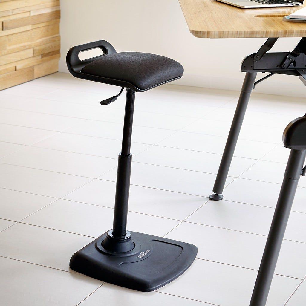varidesk, standing desk, stool, standing stool, chair,
