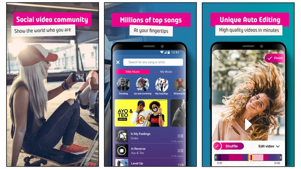 Triller mobile app screenshots showing social video community, millions of songs to choose from, and its editing features