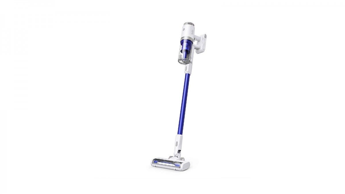A Blue Eufy HomeVac S11 handstick vacuum against a white background.