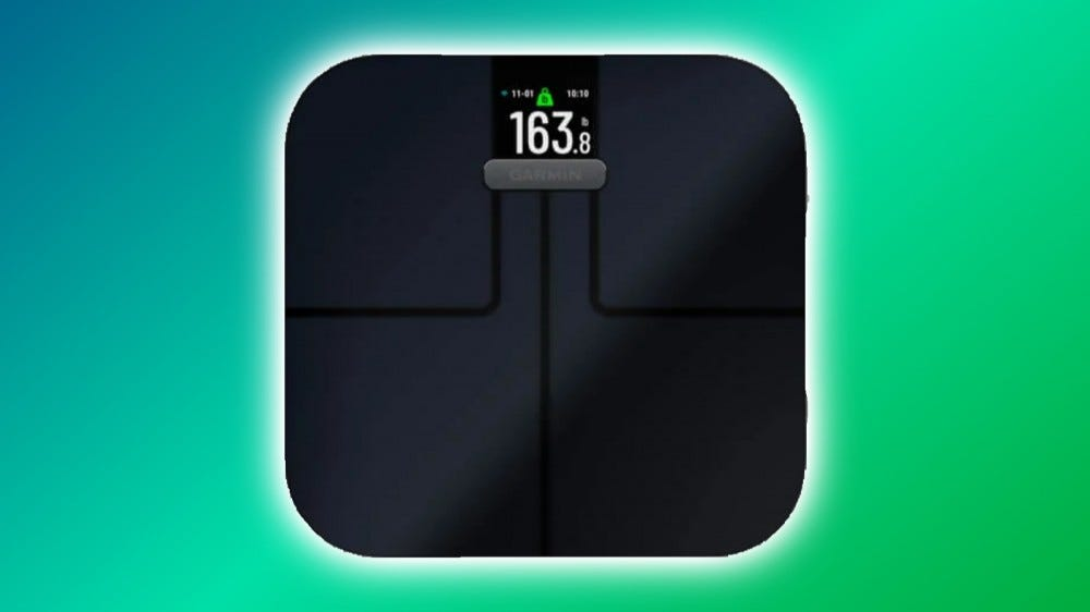 Garmin Index S2 against multi-colored backdrop