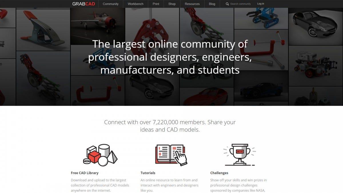 A screenshot of the GrabCad website.