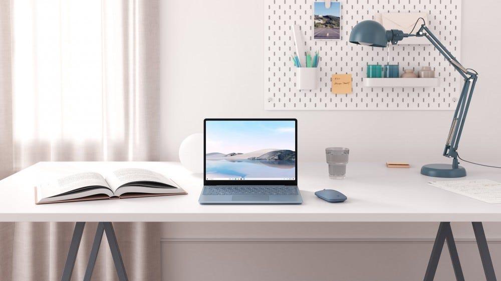 A Surface Go laptop on a desk