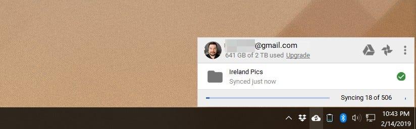 Google Drive's upload notification in Windows.