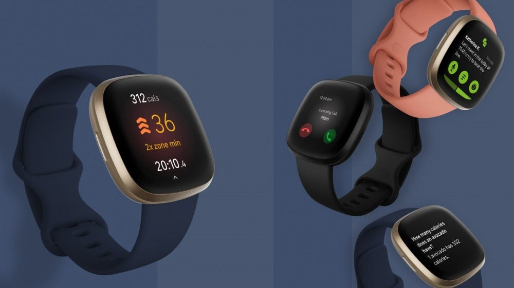 A photo of the Fitbit Versa smartwatch.