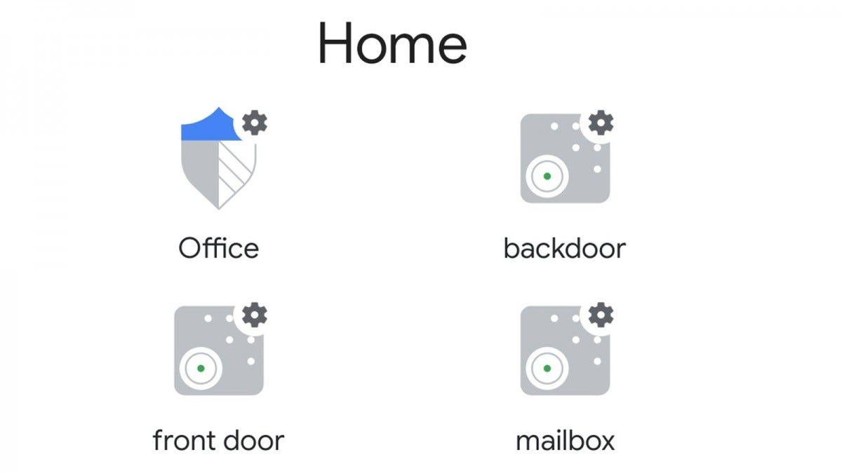 The Google Home app showing backdoor, front door, and mailbox sensors.