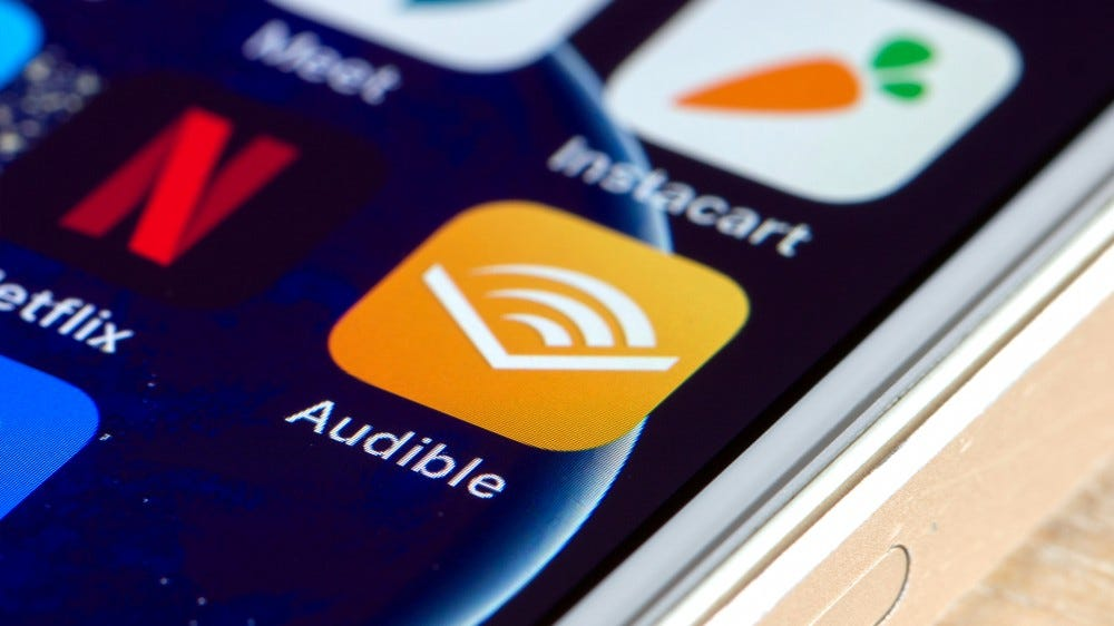 A photo of the Audible app on an iPhone.