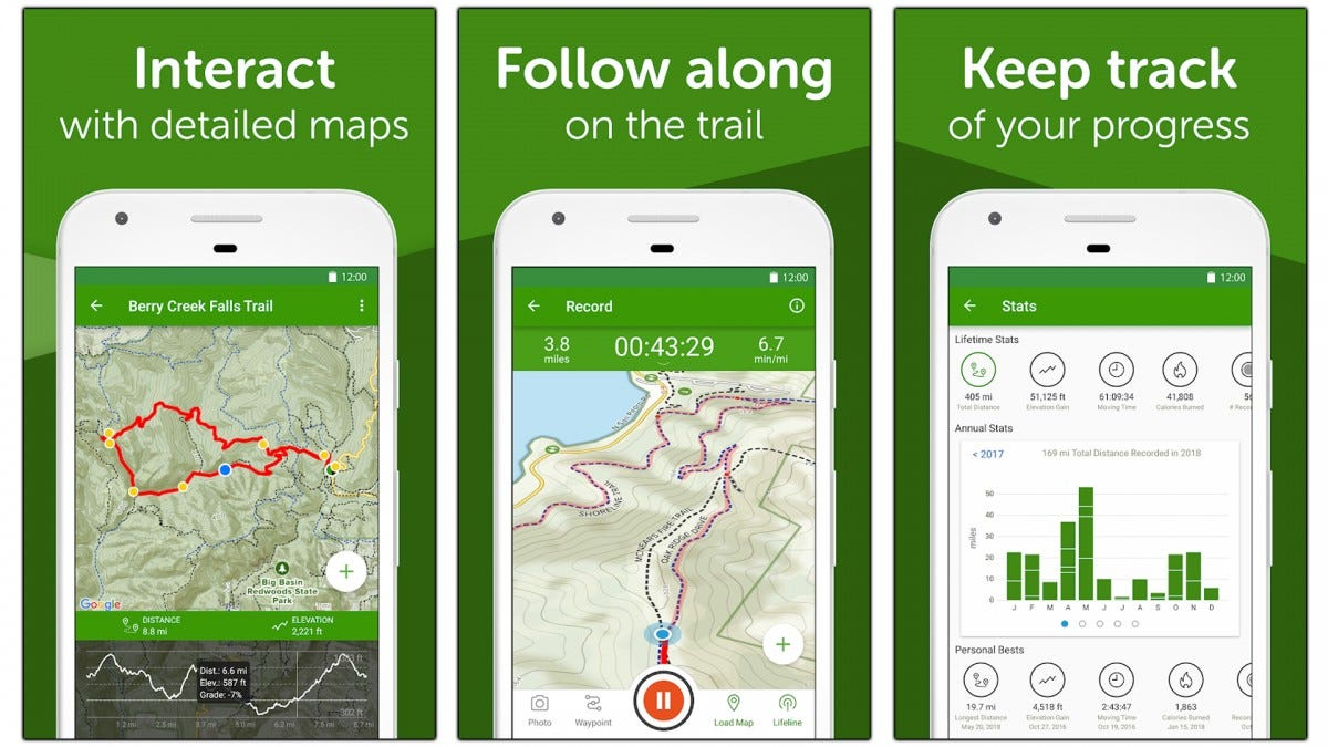 Screenshots of the AllTrails app