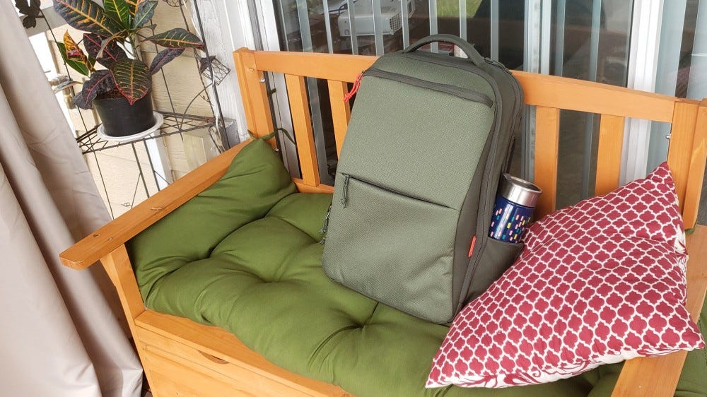 The Eco Pro bag sitting on my outdoor bench.