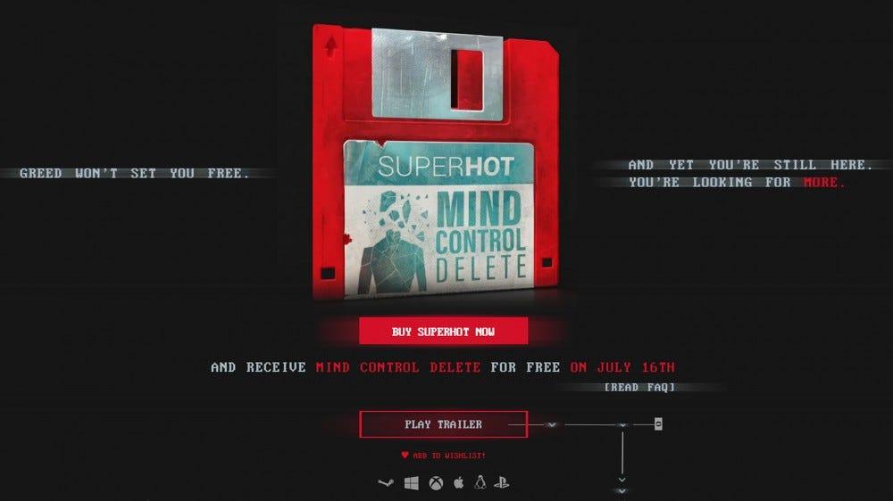 A screenshot of the Superhot website.