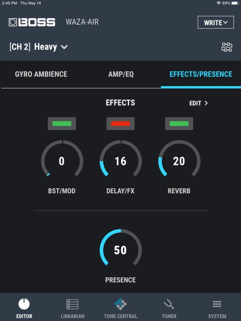 The effects/presence setting in the Waza-Air app