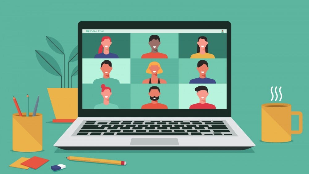 An illustration of a video chat on a laptop.