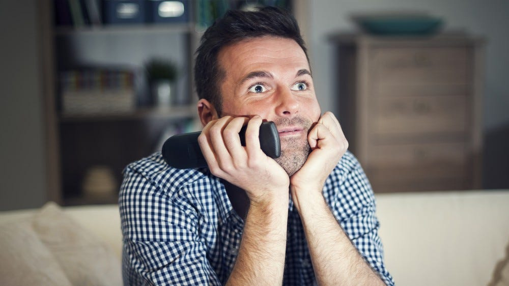 A man gawking at free TV.
