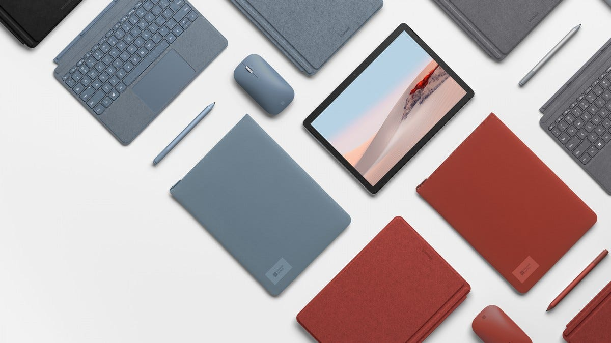 A photo of the Surface Go 2 with accessories.