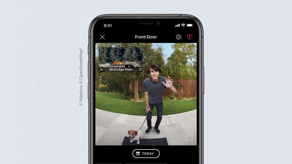 A Ring Video Dorbell app with a complete picture from head to toe and a bird's eye view of a walked path.