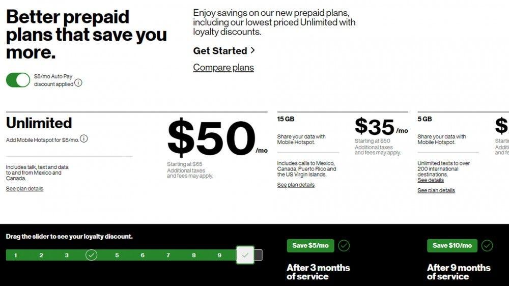 Verizon prepaid plans screenshot