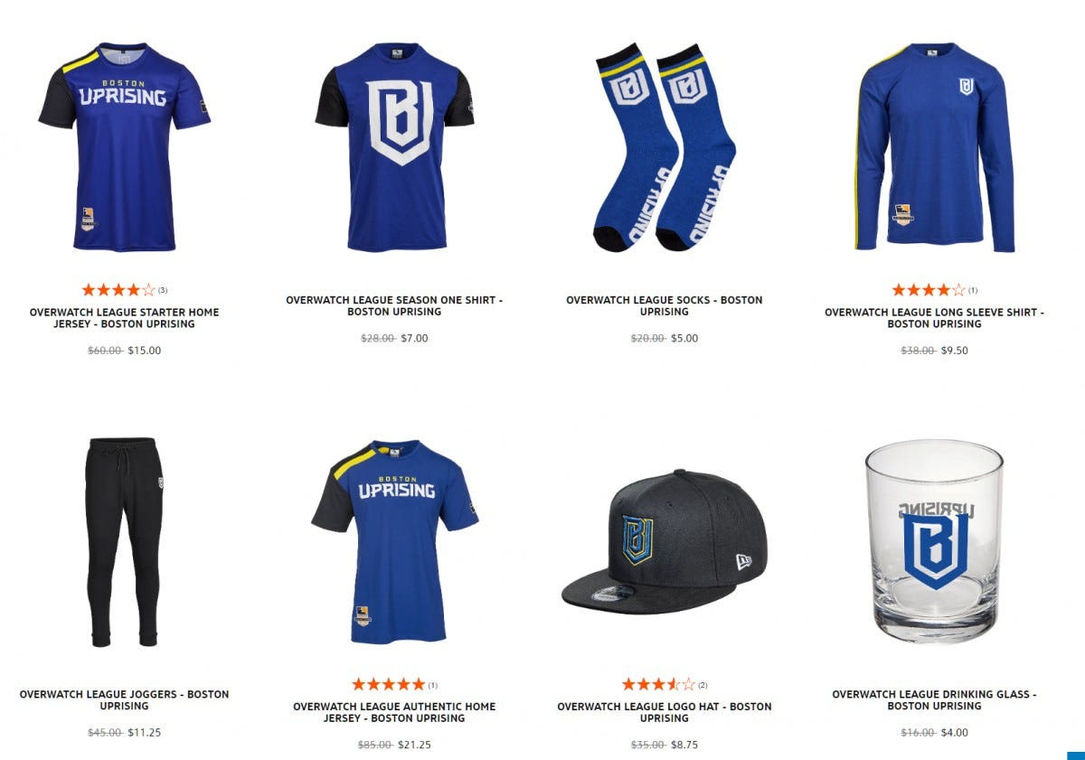esports, overwatch league, boston, uprising, merch,