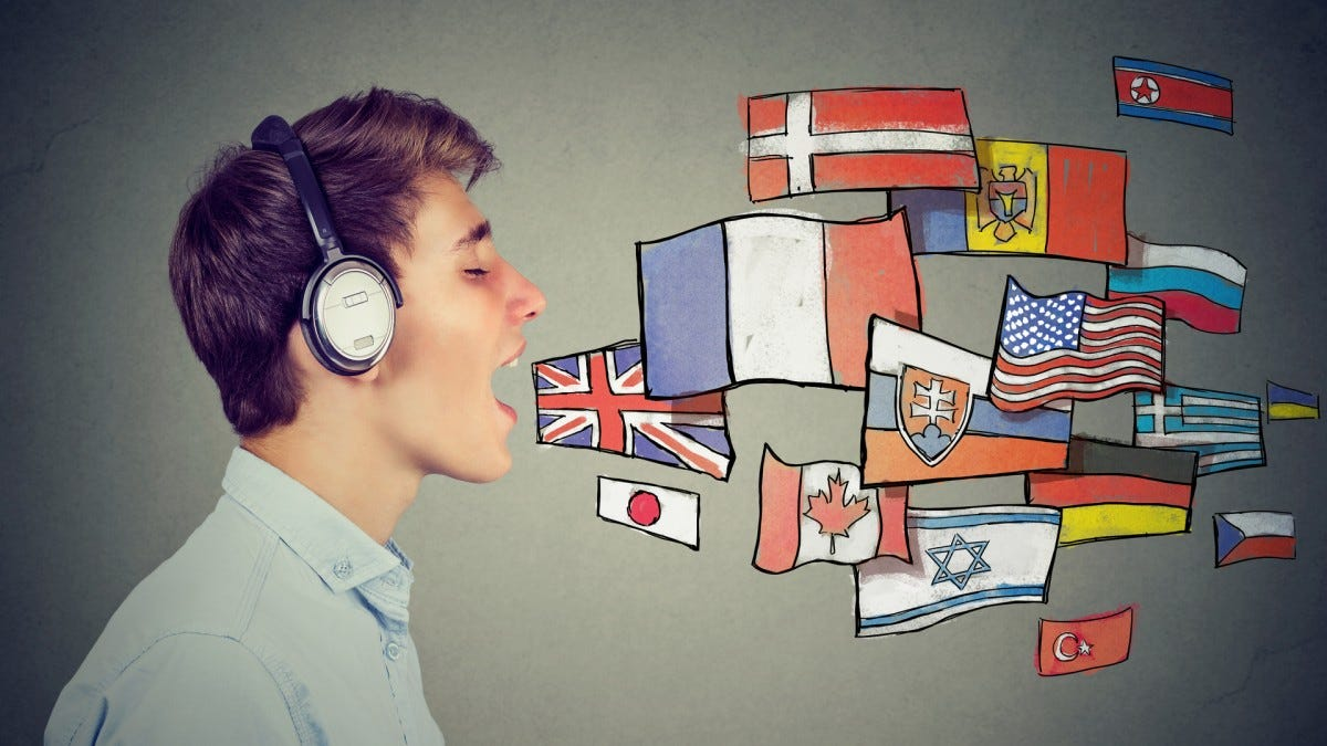 A man with headphones on and mouth open with various flags seemingly coming out of his mouth, indicating various spoken languages.