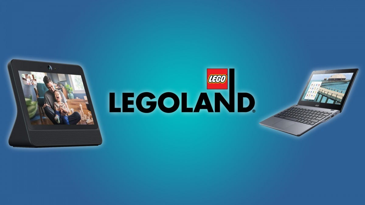 The Facebook Portal, the Legoland logo, and the Acer Chromebook