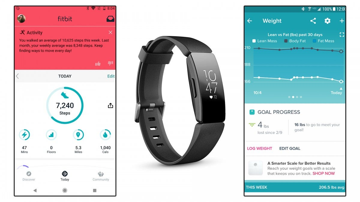 A Fitbit Versa and two screenshots of the Fitbit app.