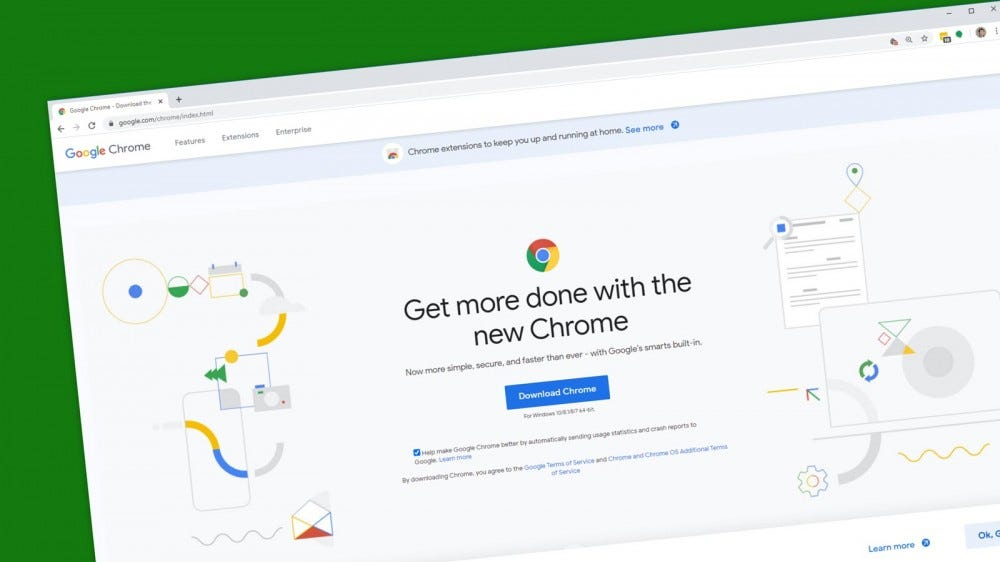 A Google Chrome browser on the Chrome download page.