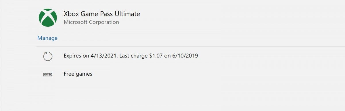 A screenshot showing a subscription good through April.