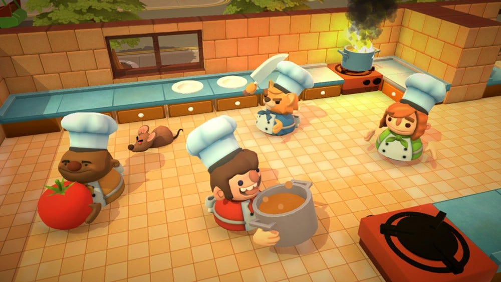 A screenshot of Overcooked in action.