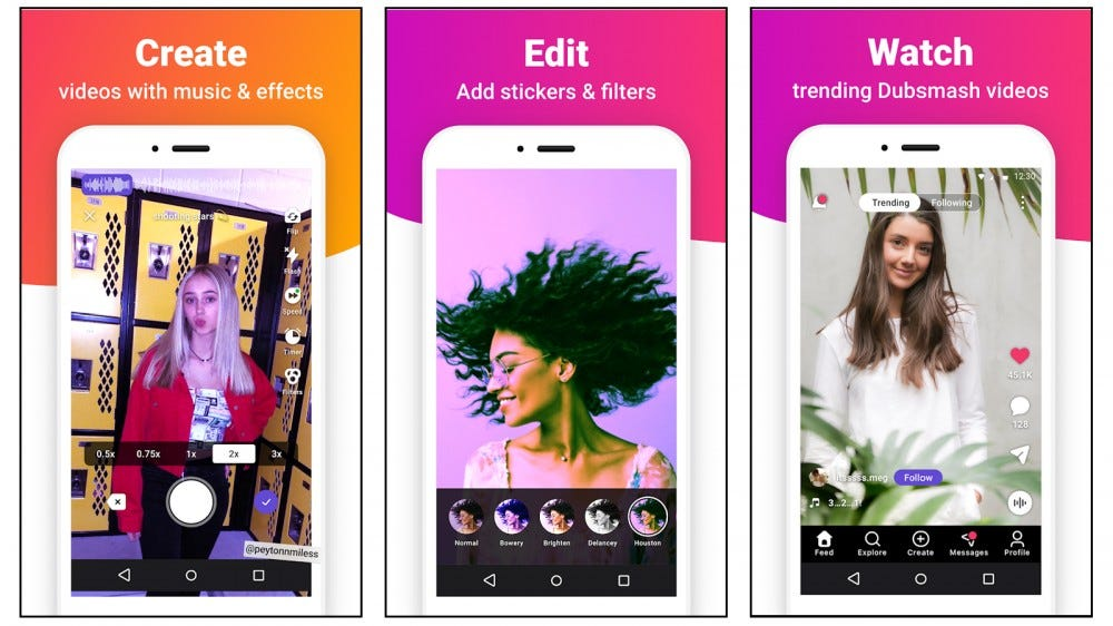 Dubsmash mobile app screenshots showing you can create, edit, and watch videos