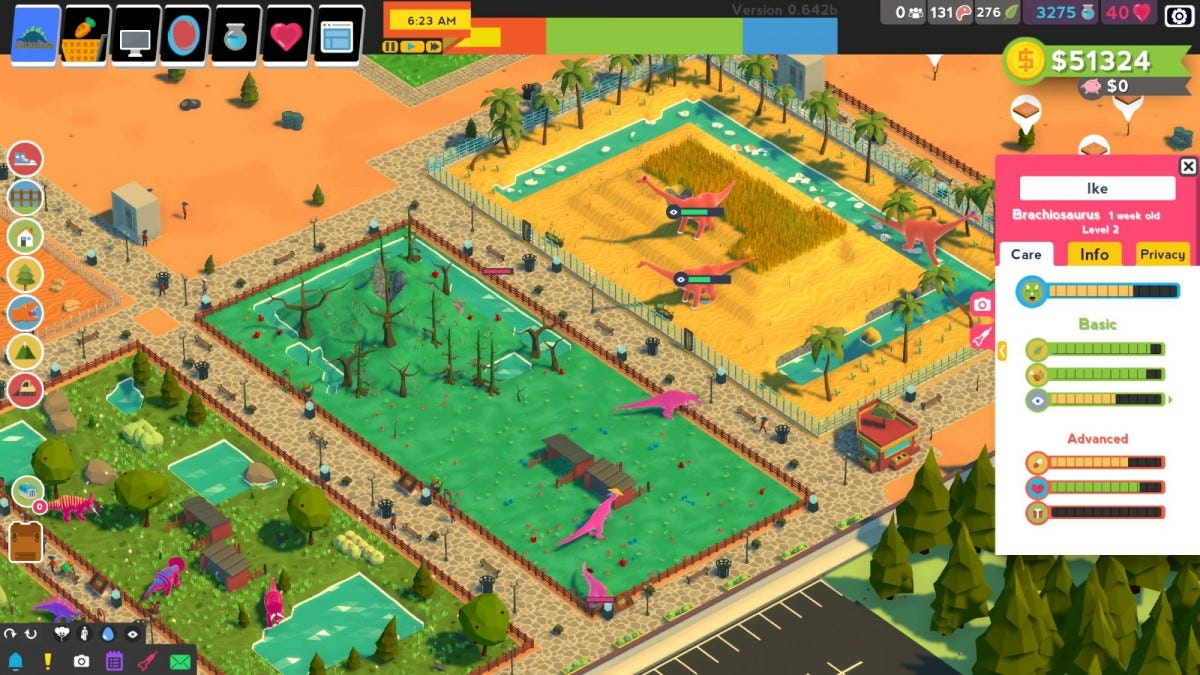 The park building overview in Parkasaurus.