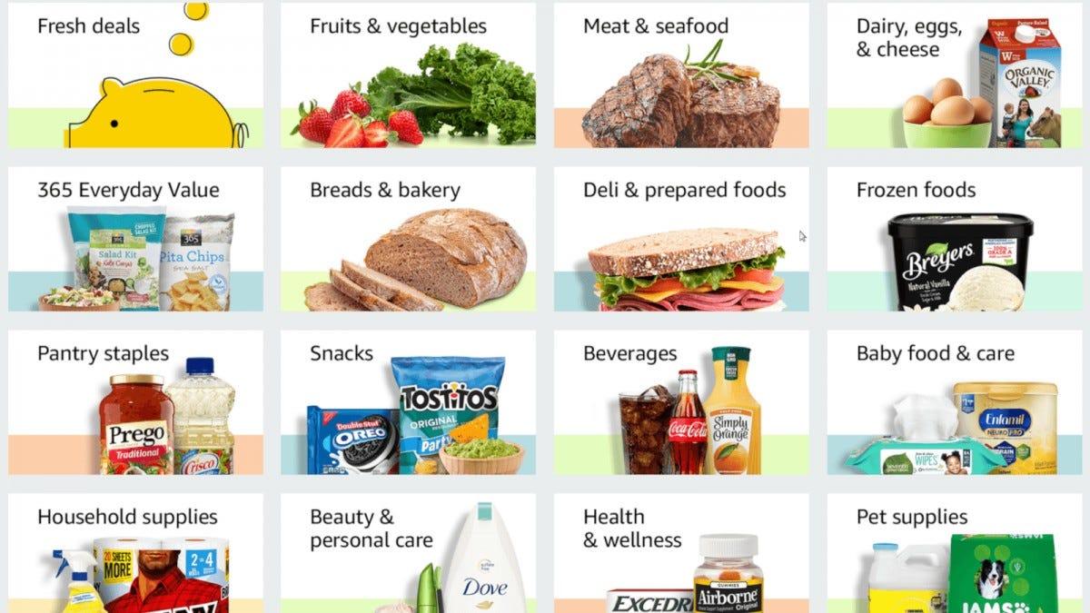 Amazon Fresh grocery selection