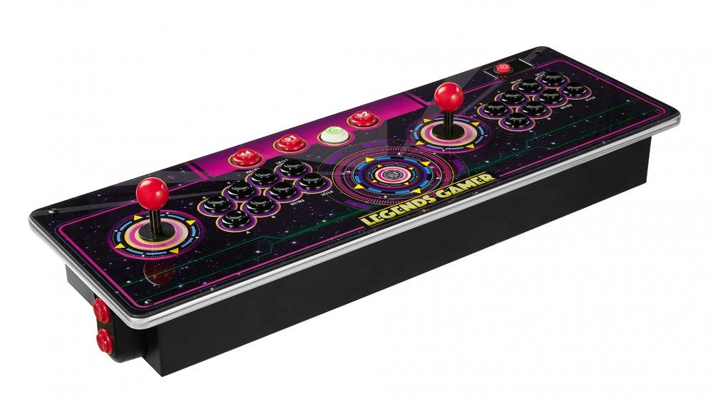A larger console with two joystics, 16 buttons, and pinball buttons.