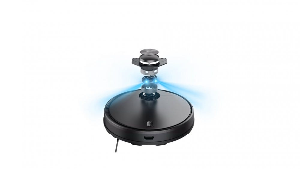 A closeup of the Wyze robot vacuum's LIDAR sensor.