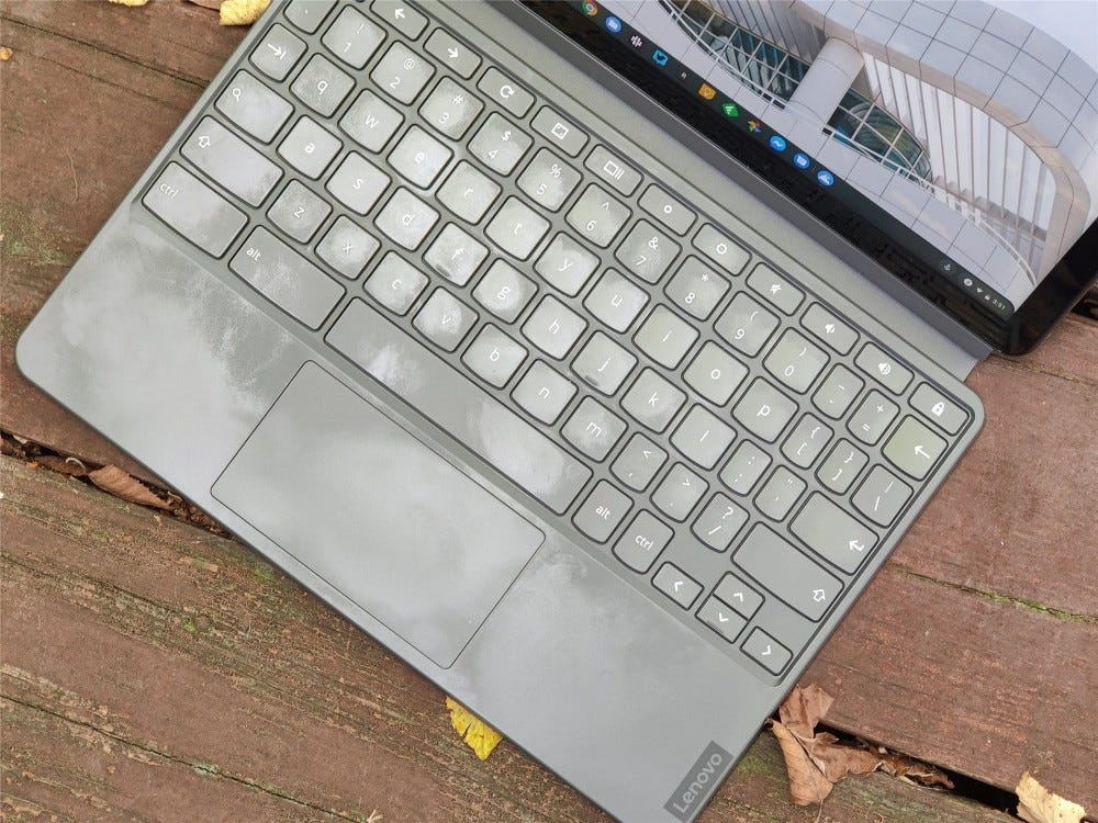 A top-down view of the IdeaPad Duet's keyboard