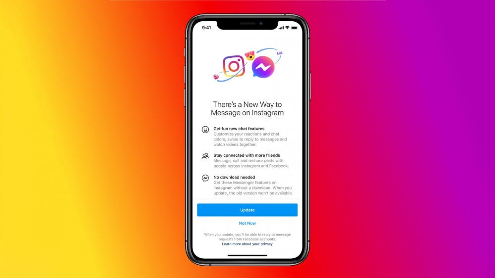 Instagram's announcement of the merger with Messenger