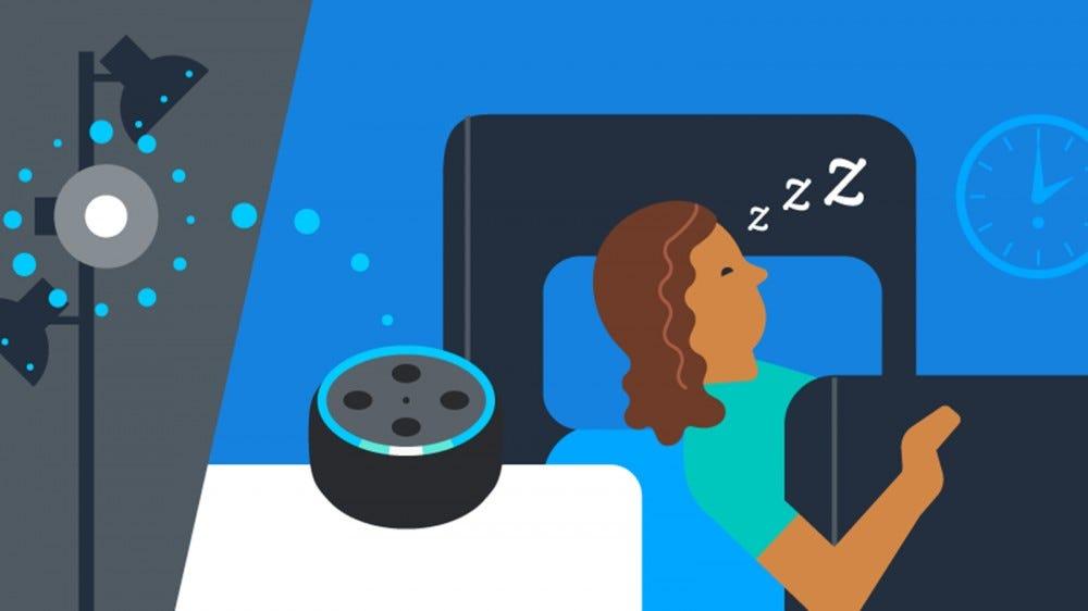 A woman sleeping while an Echo turns off a smart bulb.