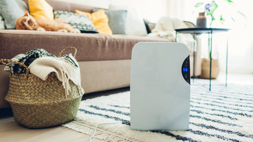 dehumidifier in beautiful living room with touch screen, air ion and water tank
