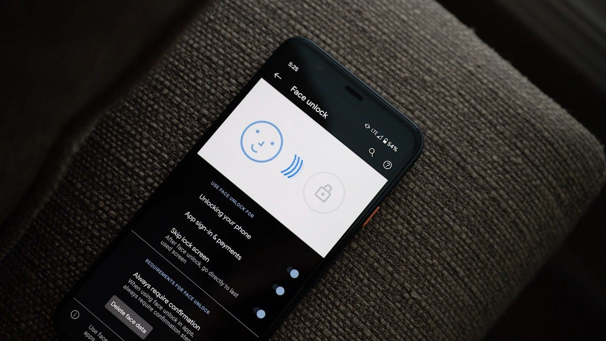 Google Pixel 4 Face Unlock Settings