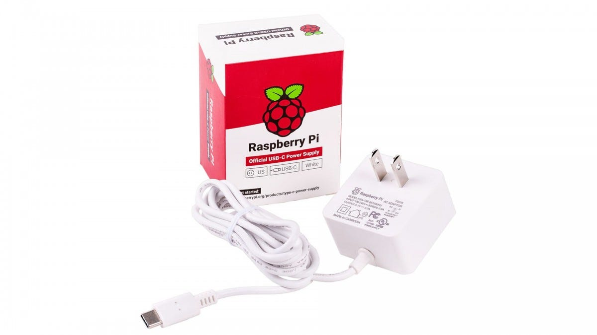 A photo of the official Raspberry Pi USB-C cable.