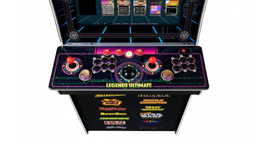 A closeup of the Legends Ultimate control deck, showing two joystick, six controlls buttons per stick, twp spinners, trackballs, and various other buttons.