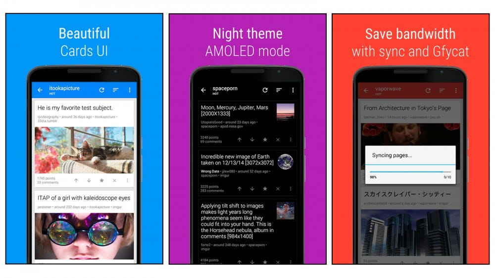 sync for reddit app for viewing posts as cards, a night amoled setting, and other features