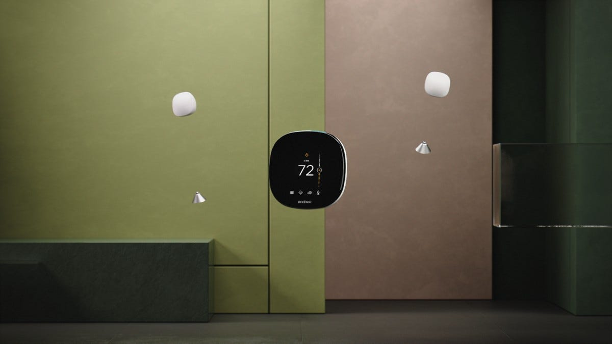 An Ecobee thermostat and two temperature sensors floating over a green background.