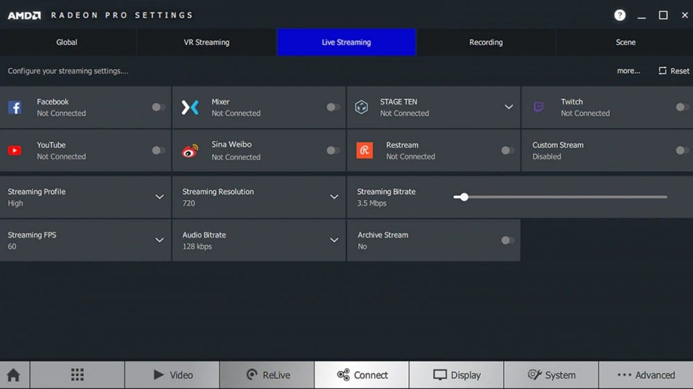 Screenshot of AMD Radeon Relive live stream settings