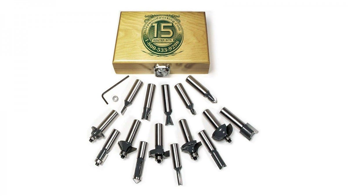 The MLCS router bit kit with wooden box and an allen wrench.