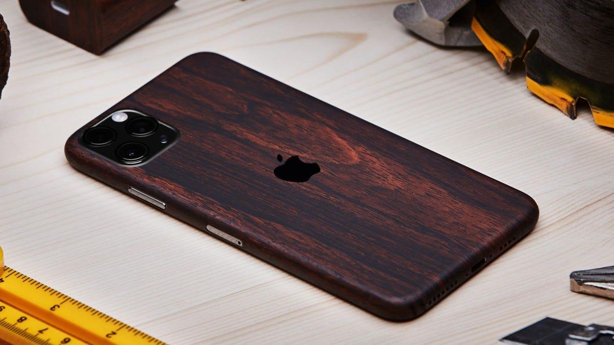A dbrand skin on an iPhone 11 Pro