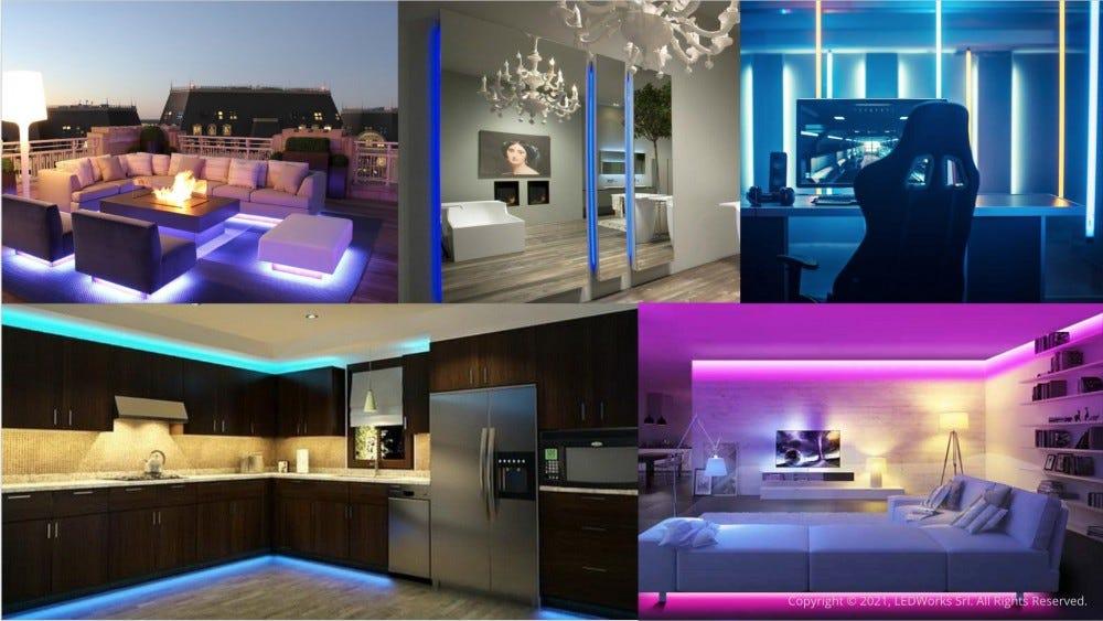 LED szalagok a nappaliban és a hálószobában.