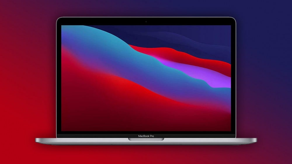MacBook Pro on red-blue background