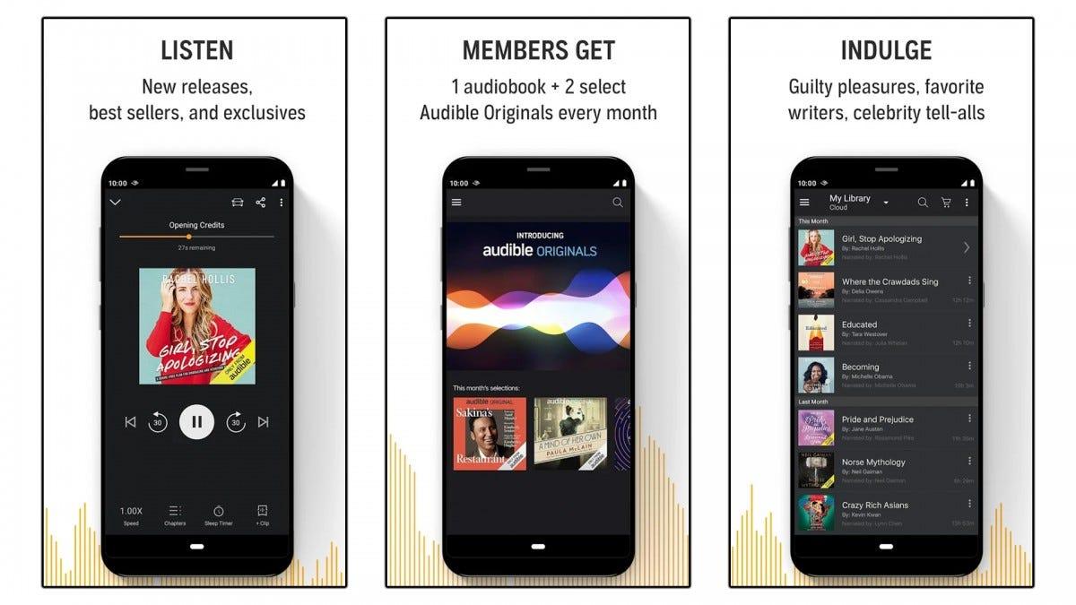 Three screenshots of the Audible app.