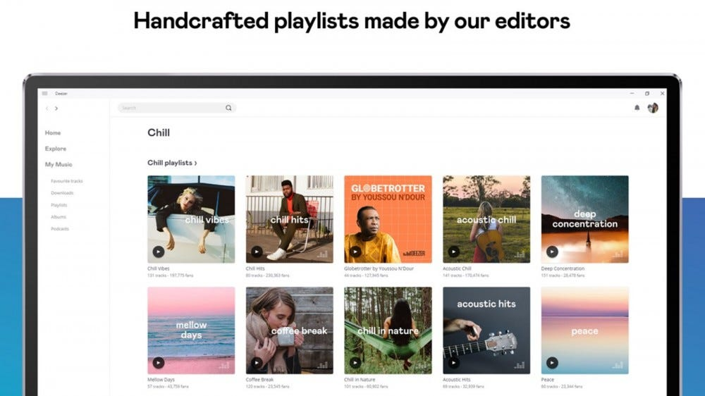 Deezer web player showing curated playlist options