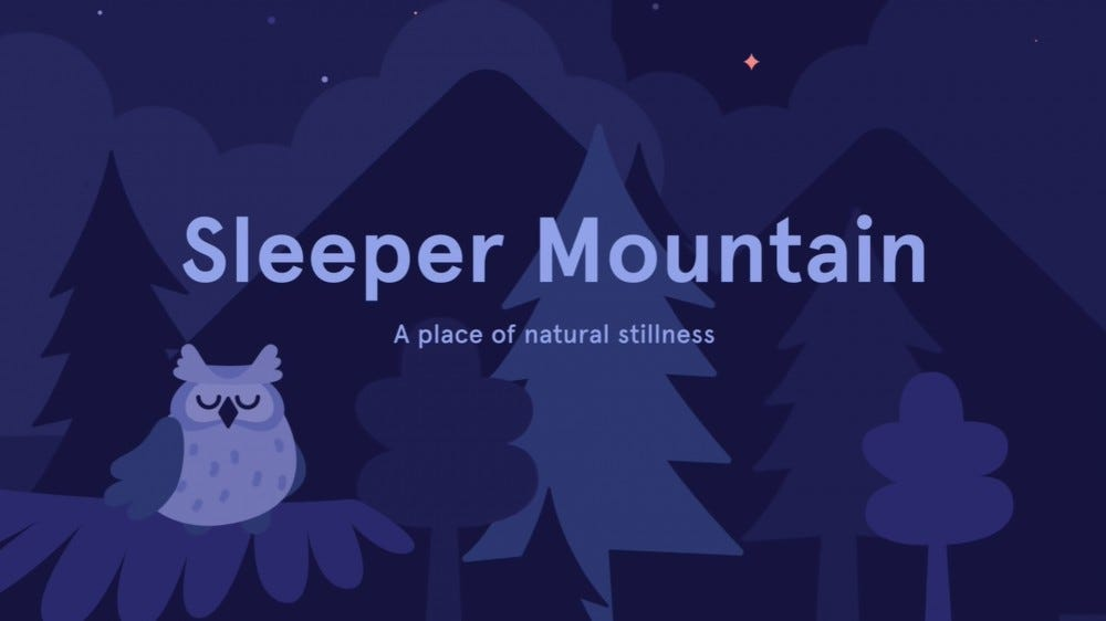 An audio excerpt from a Sleepcast called Sleeper Mountain, featuring digital trees and animals